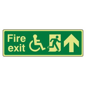Photoluminescent Wheelchair Fire Exit Arrow Up Sign