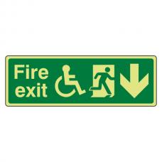 Photoluminescent Wheelchair Fire Exit Arrow Down Sign