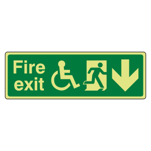 Photoluminescent Wheelchair Fire Exit Arrow Down Sign