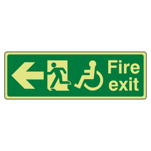 Photoluminescent Wheelchair Fire Exit Arrow Left Sign