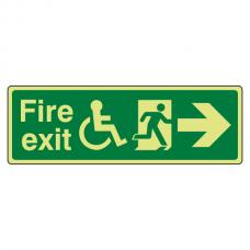 Photoluminescent Wheelchair Fire Exit Arrow Right Sign