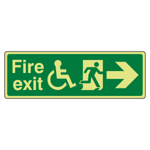 Photoluminescent Wheelchair Fire Exit Arrow Right Sign