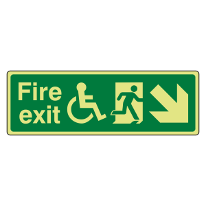 Photoluminescent Wheelchair Fire Exit Arrow Down Right Sign