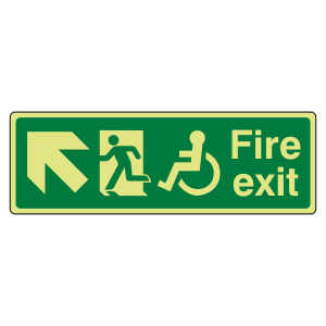 Photoluminescent Wheelchair Fire Exit Arrow Up Left Sign