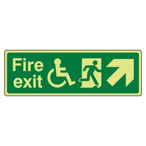 Photoluminescent Wheelchair Fire Exit Arrow Up Right Sign