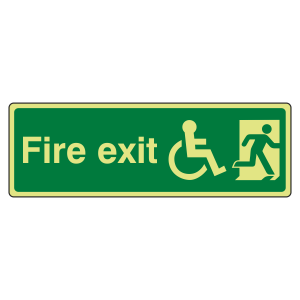 Photoluminescent Wheelchair Final Fire Exit Man Right Sign