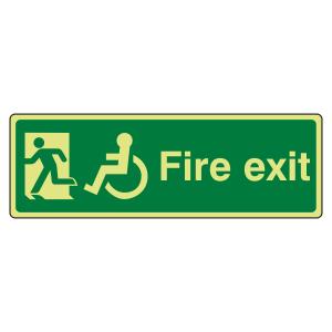 Photoluminescent Wheelchair Final Fire Exit Man Left Sign