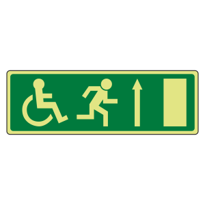 Photoluminescent EC Wheelchair Fire Exit Arrow Up Sign