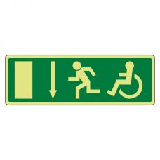 Photoluminescent EC Wheelchair Fire Exit Arrow Down Sign