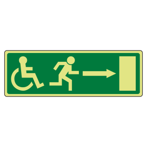Photoluminescent EC Wheelchair Fire Exit Arrow Right Sign