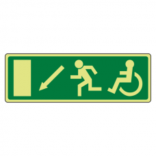 Photoluminescent EC Wheelchair Fire Exit Arrow Down Left Sign