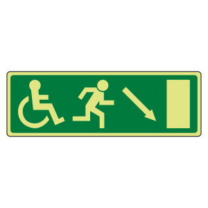 Photoluminescent EC Wheelchair Fire Exit Arrow Down Right Sign