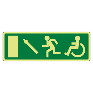 Photoluminescent EC Wheelchair Fire Exit Arrow Up Left Sign