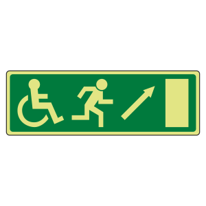 Photoluminescent EC Wheelchair Fire Exit Arrow Up Right Sign