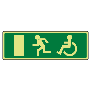 Photoluminescent EC Wheelchair Final Fire Exit Man Left Sign