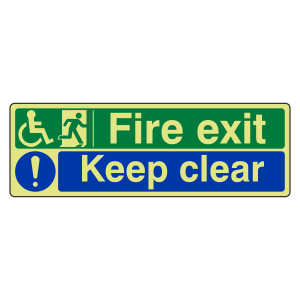 Photoluminescent Wheelchair Fire Exit / Keep Clear Sign