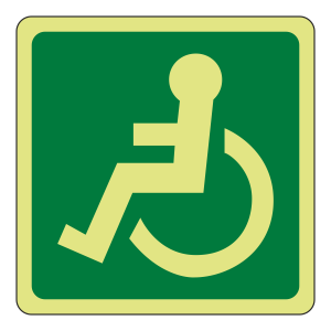 Photoluminescent Wheelchair Logo Sign (left)