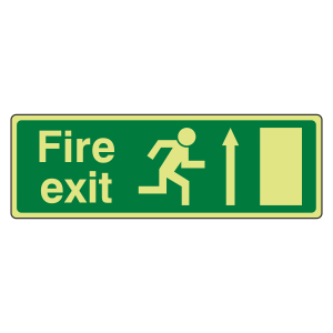 Photoluminescent EC Fire Exit Arrow Up Sign with text