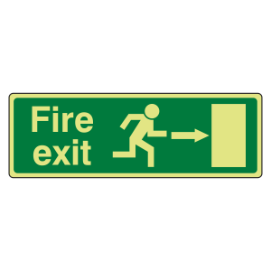Photoluminescent EC Fire Exit Arrow Right Sign with text