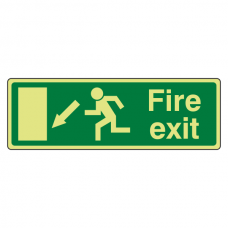 Photoluminescent EC Fire Exit Arrow Down Left Sign with text