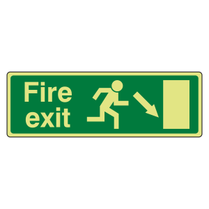Photoluminescent EC Fire Exit Arrow Down Right Sign with text