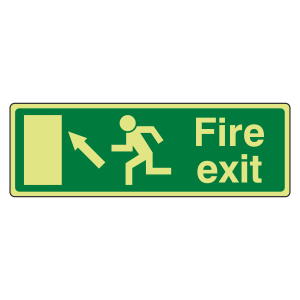 Photoluminescent EC Fire Exit Arrow Up Left Sign with text