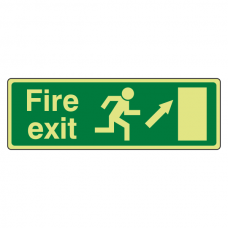 Photoluminescent EC Fire Exit Arrow Up Right Sign with text