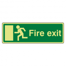 Photoluminescent EC Final Fire Exit Man Left Sign with text