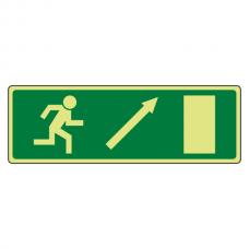 Photoluminescent EC Fire Exit Arrow up Right Sign