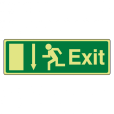 Photoluminescent EC Exit Arrow Down Sign with text
