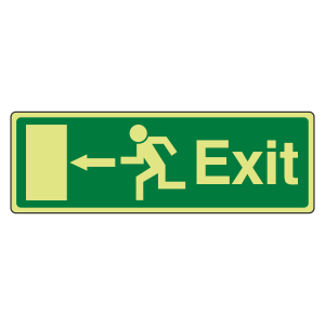 Photoluminescent EC Exit Arrow Left Sign with text