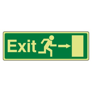 Photoluminescent  EC Exit Arrow Right Sign with text