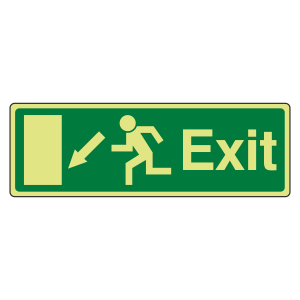 Photoluminescent EC Exit Arrow Down Left Sign with text