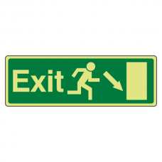 Photoluminescent EC Exit Arrow Down Right Sign with text
