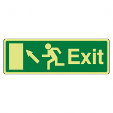 Photoluminescent EC Exit Arrow Up Left Sign with text