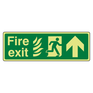 Photoluminescent NHS Fire Exit Arrow Up Sign