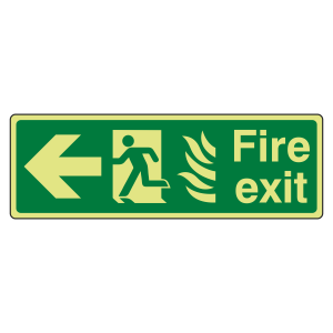 Photoluminescent NHS Fire Exit Arrow Left Sign