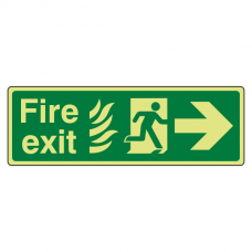 Photoluminescent NHS Fire Exit Arrow Right Sign