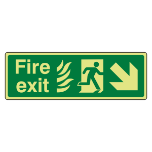 Photoluminescent NHS Fire Exit Arrow Down Right Sign