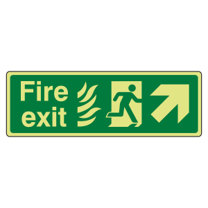 Photoluminescent NHS Fire Exit Arrow Up Right Sign