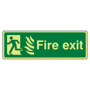 Photoluminescent NHS Final Fire Exit Man Left Sign