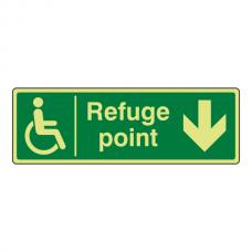 Photoluminescent Refuge Point Arrow Down Sign