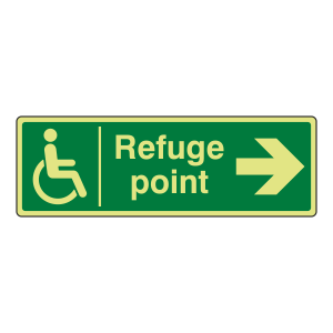Photoluminescent Refuge Point Arrow Right Sign