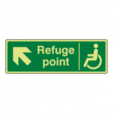 Photoluminescent Refuge Point Arrow Up Left Sign
