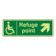 Photoluminescent Refuge Point Arrow Up Right Sign