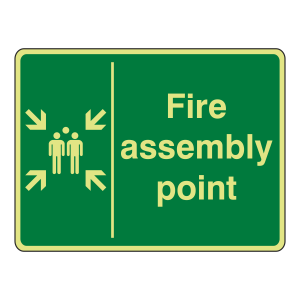 Photoluminescent Fire Assembly Point with Family Sign (Large Landscape)