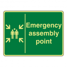 Photoluminescent Emergency Assembly Point Sign (Landscape)
