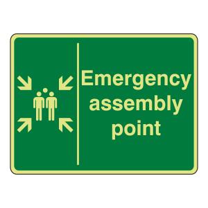 Photoluminescent Emergency Assembly Point Sign (Landscape)