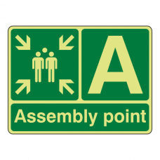 Photoluminescent Assembly Point Sign with letter (Landscape)