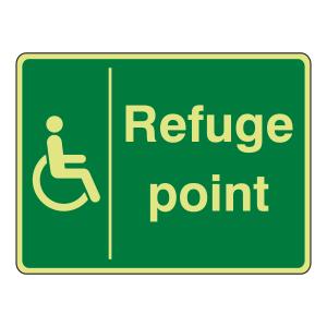 Photoluminescent Refuge Point Sign (Large Landscape)